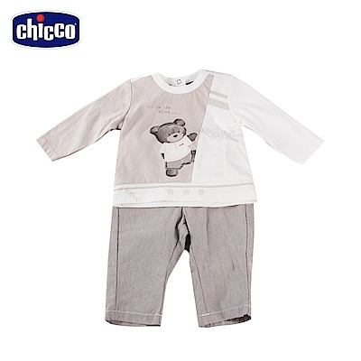 chicco-風帆-長袖套裝-灰(12-24個月)