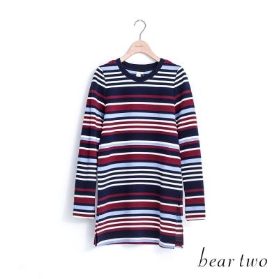 beartwo-拉丁條紋棉麻開衩造型長上衣-二色