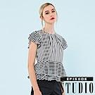 EPISODE Studio - 俐落時尚條紋縮腰造型上衣 (黑)