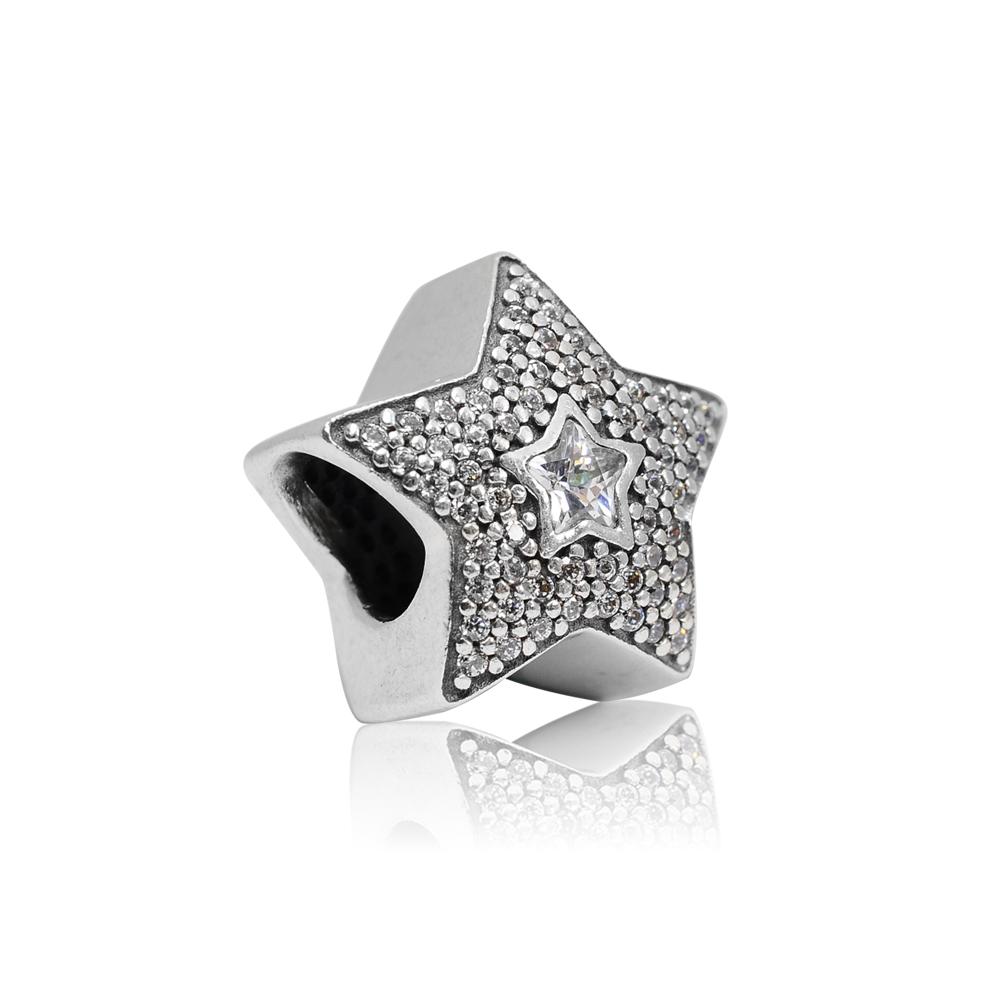 Pandora 潘朵拉 許願鑲鋯雙星 純銀墜飾 串珠