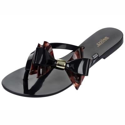 MELISSA-雙層大蝴蝶結夾腳鞋-黑-玳瑁