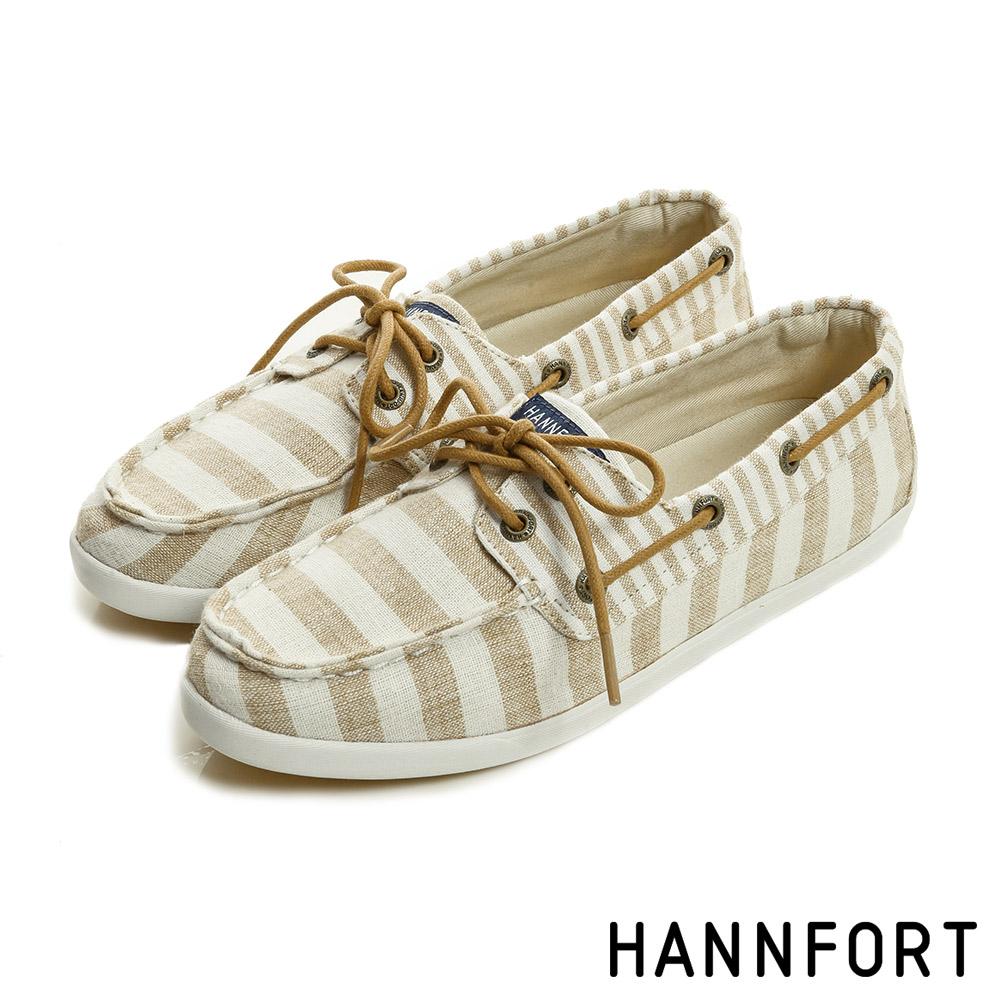 HANNFORT CALIFORNIA條紋帆布氣墊帆船鞋-女-輕卡其8H