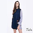 條紋拼接蝴蝶釘珠洋裝 中大尺碼 TATA PLUS