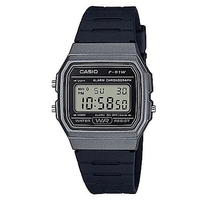 CASIO 全新配復古造型方型設計運動數位錶(F-91WM-1B)-黑x灰框-35mm