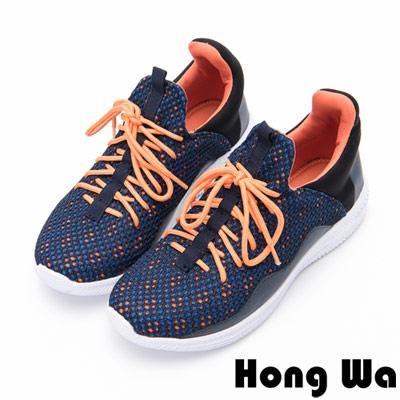 Hong Wa - 撞色運動休閒綁帶編織布鞋-橘