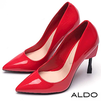 ALDO 原色亮面漆皮愛心造型尖頭細高跟鞋~性感紅色
