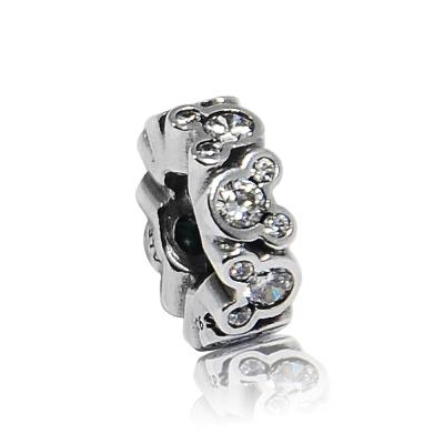 Pandora 潘朵拉 DISNEY迪士尼限量款 水鑽米奇環狀細扁珠  純銀墜飾 串珠
