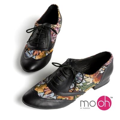 mo.oh -異材質拼接復古中性風綁帶牛津鞋