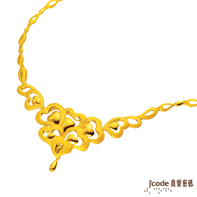 J code真愛密碼金飾 心心相印純金項鍊 約9.5錢