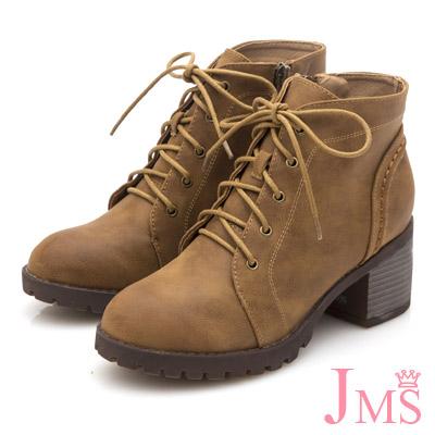 JMS-英式經典綁帶側拉鍊工程短靴-棕色