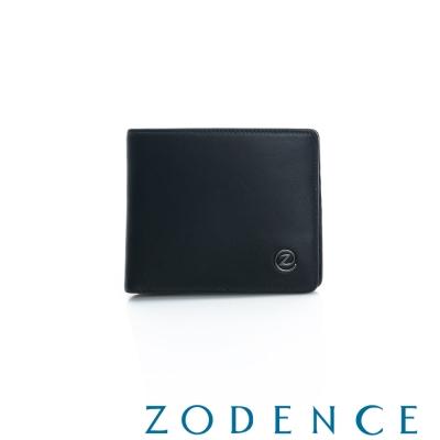 ZODENCE-MAN-義大利羊皮系列兩折經典短夾-黑