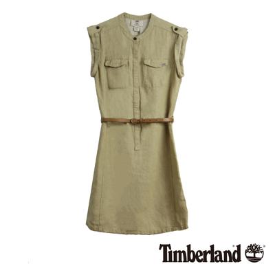 Timberland-女款卡其色無袖亞麻洋裝