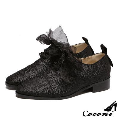 CoConi-牛津鞋-網紗蝴蝶結兩穿低粗跟樂福鞋