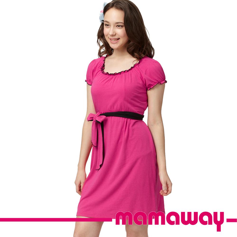 【Mamaway】配色滾邊孕哺小洋裝(共二色)