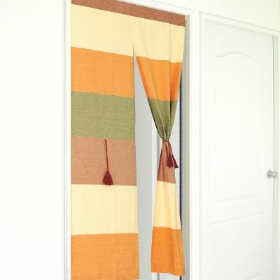 布安於室-色塊純棉中開式長門簾-古樸色系