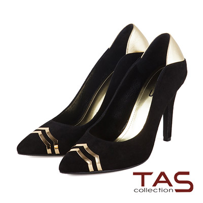 TAS-時尚前衛感金屬裝飾麂皮尖頭高跟鞋-時髦黑