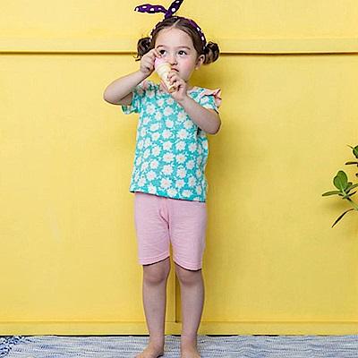 BEBEZOO 水藍底滿版小雛菊短袖套裝2件組