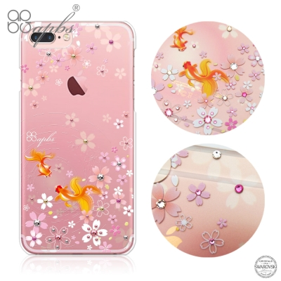 apbs iPhone8/7 Plus 5.5吋施華洛世奇彩鑽手機殼-湖櫻夢