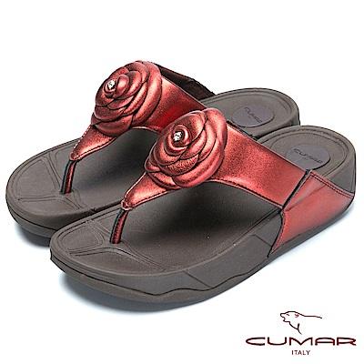 CUMAR舒適樂活-山茶花厚底舒適夾腳鞋-紅色