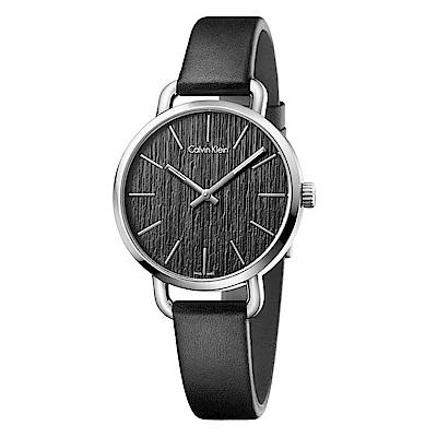 Calvin Klein 雅緻永恆木質感石英女錶(K7B231C1)-黑色/36mm
