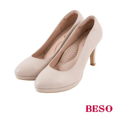 BESO  簡約知性 真皮防刮紋素面尖楦高跟鞋 米