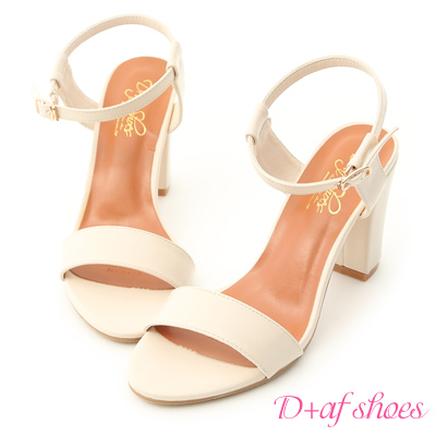 D+AF 都會魅力.簡約一字繫踝高跟涼鞋*白