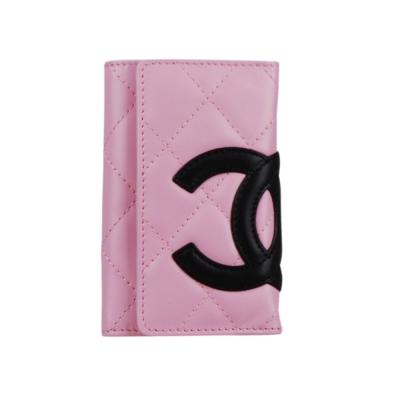 CHANEL 經典康朋系列鑰匙包(粉紅/黑)-展示品