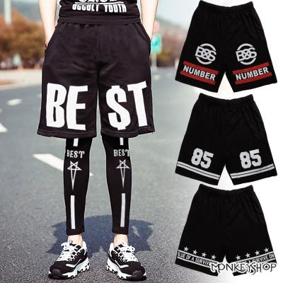 小猴子的賣場 韓版MIT黑潮印花縮腰透氣網眼球褲短褲