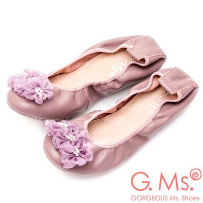 G.Ms. 手串珍珠網紗牛皮彎折娃娃鞋-藕紫