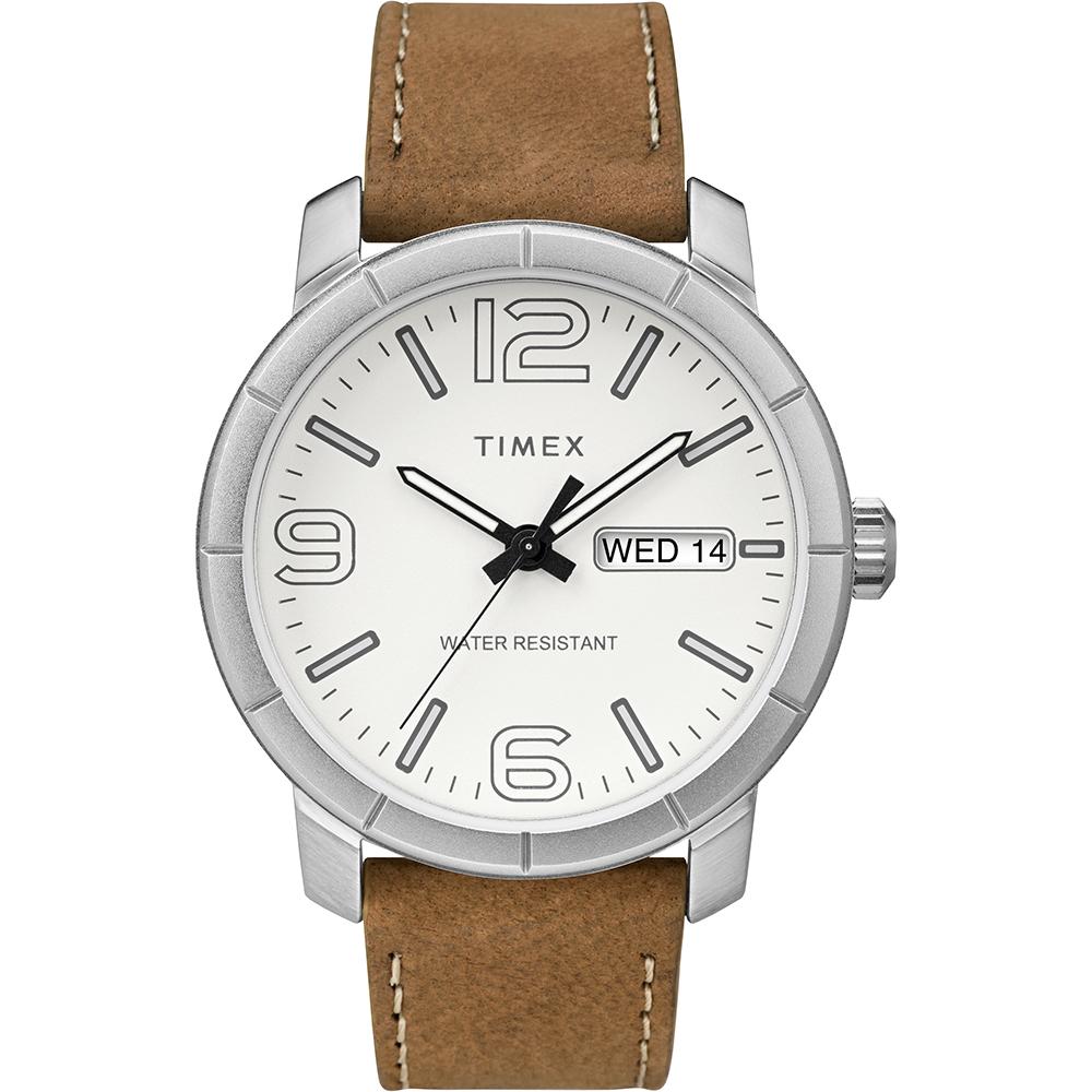 TIMEX 天美時 風格系列 經典潮流大數字手錶 白x棕色/44mm