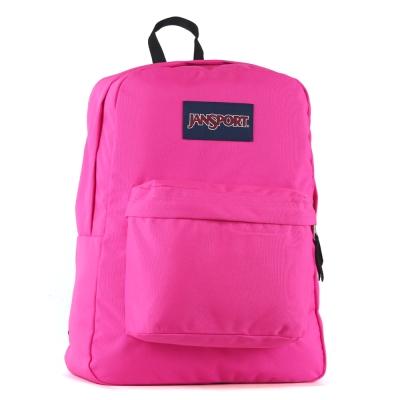 JanSport校園背包(SUPER BREAK)-亮粉紅