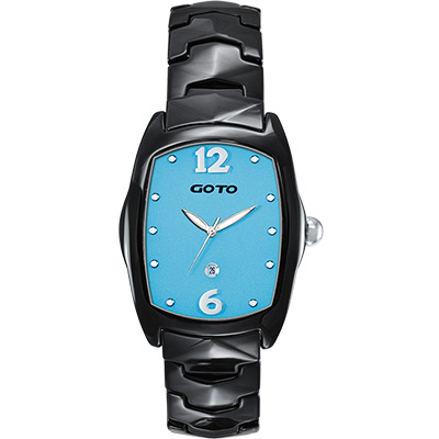GOTO Sweet color 甜美陶瓷時尚腕錶-黑x藍/34mm
