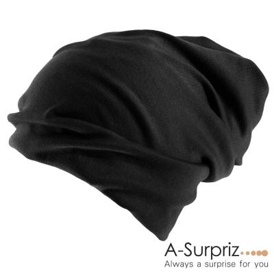 A-Surpriz-氣質兩用素面毛線帽-氣質黑