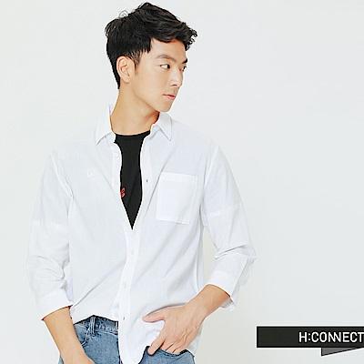 H:CONNECT 韓國品牌 男裝-口袋設計棉質襯衫-白