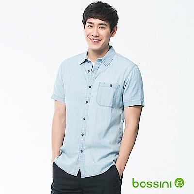 bossini男裝-牛仔短袖襯衫01淡靛藍