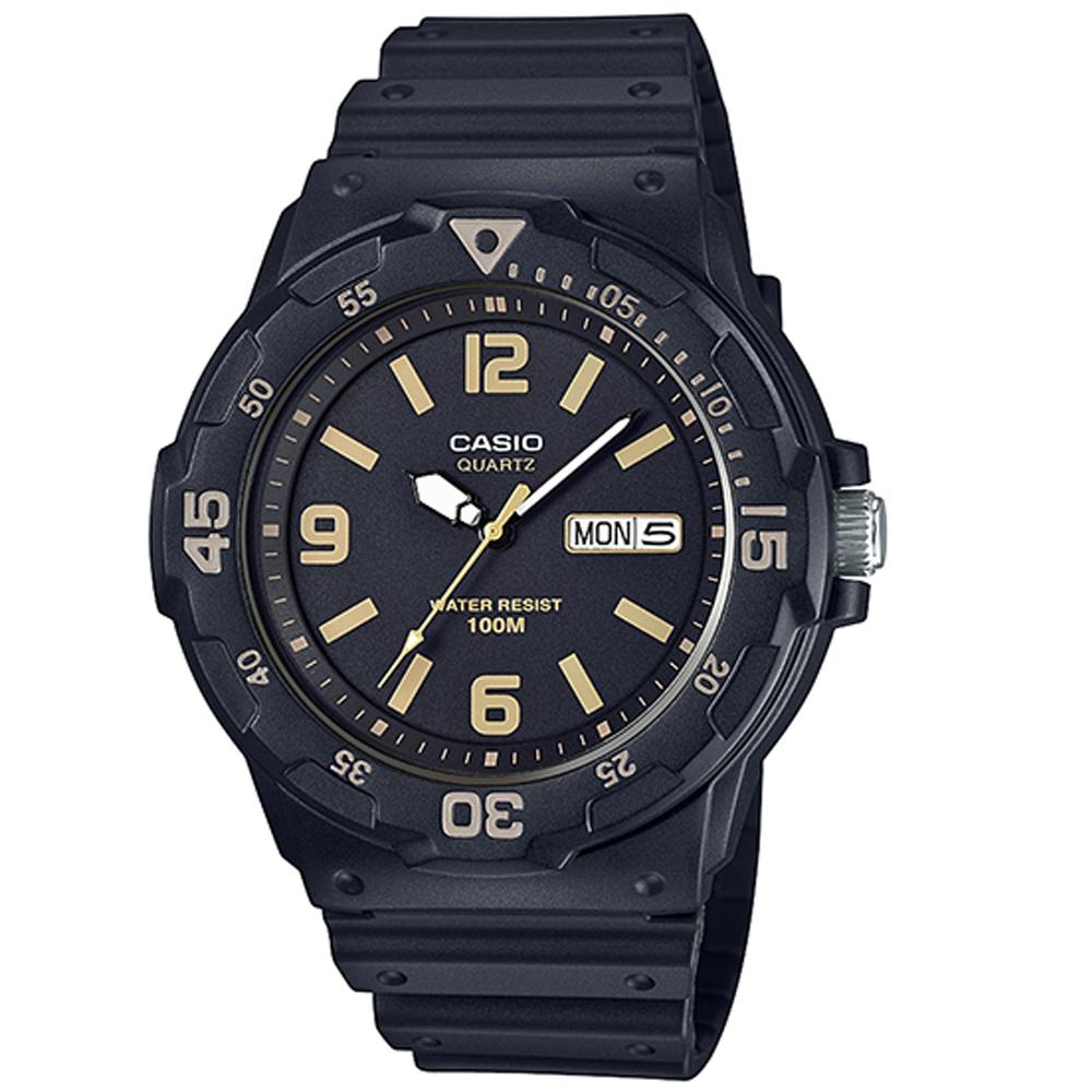 CASIO 潛水風指針錶(MRW-200H-1B3)-黑面X金時刻度/47.9mm