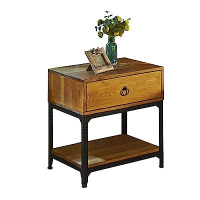 AT HOME-威斯頓工業風實木單抽床頭櫃(54*48*60cm)