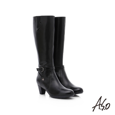 A.S.O 優雅時尚 全真皮側拉鍊奈米中跟長靴 黑色