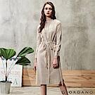 GIORDANO 女裝收腰綁帶棉麻襯衫連身裙-01 白胡椒淺咖啡