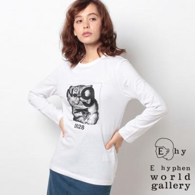 E hyphen  HWM聯名框框貓咪打印T恤