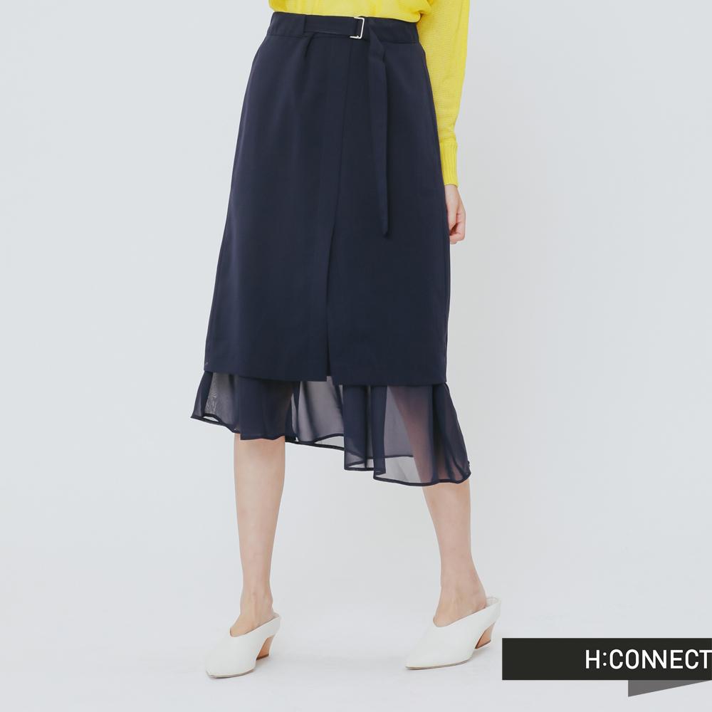 H:CONNECT 韓國品牌 女裝 - 前開岔層次感中長裙-藍