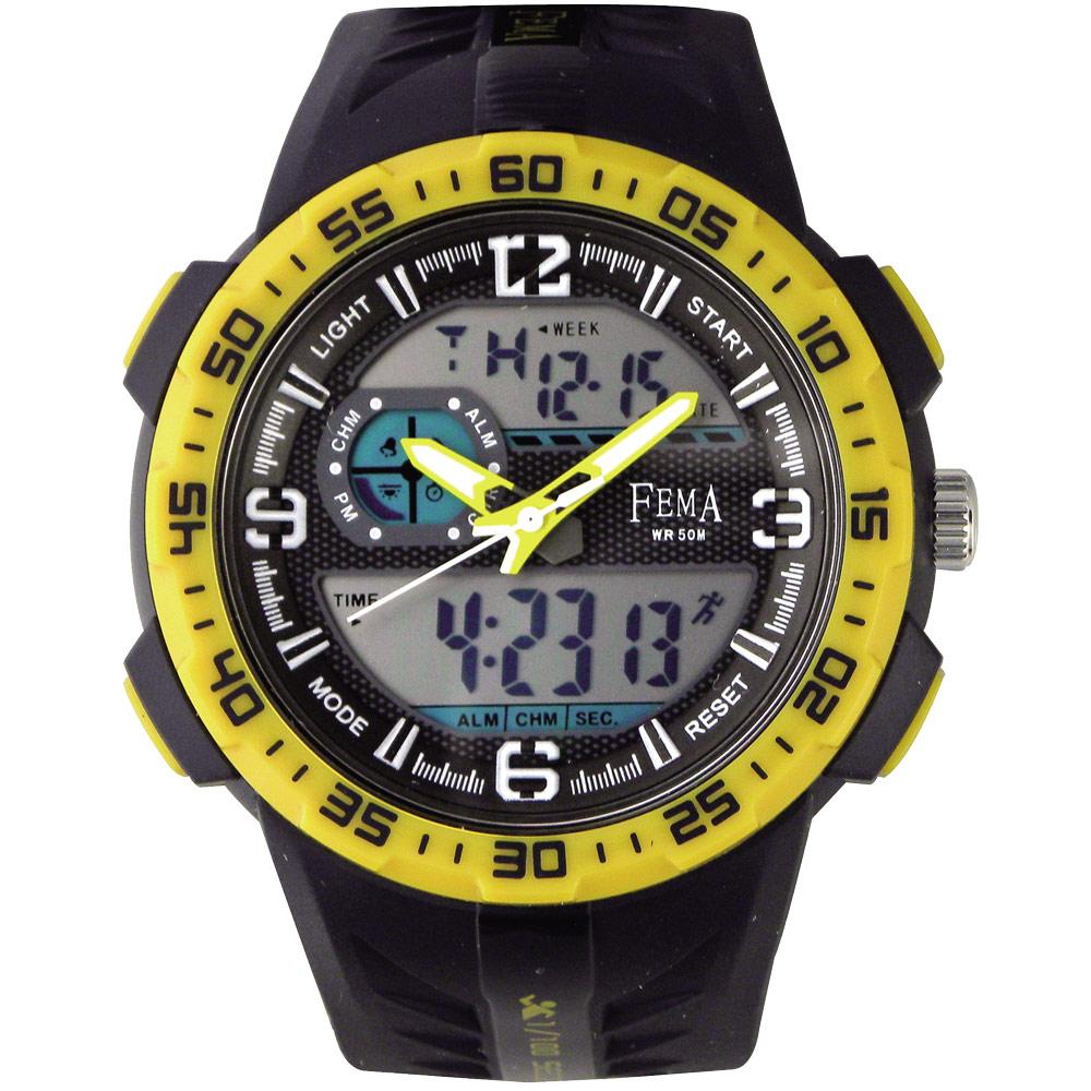 FEMA 潛水風格 計時鬧鈴 雙顯運動錶(P442A)-黑X黃圈/45mm