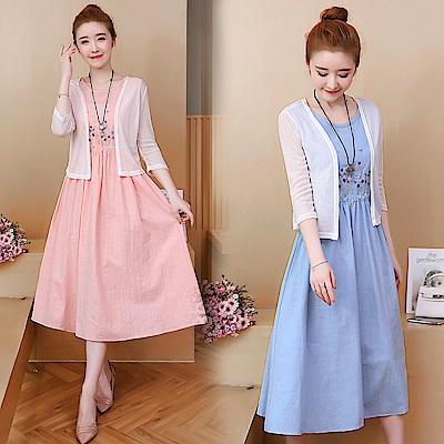 刺繡披肩連衣裙兩件套-共3色(M-2XL可選)    NUMI  復古