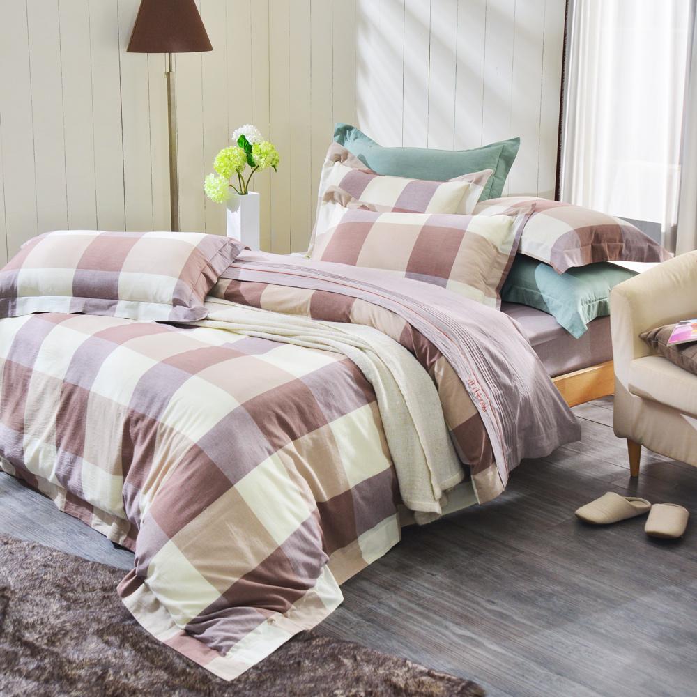 IN HOUSE-ALPHA-200織紗水洗棉-薄被套床包組(棕色-加大)