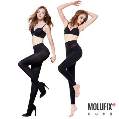 Mollifix瑪莉菲絲 軟鎧甲 蜜腿9分褲X踮腳尖纖腿襪 2件組