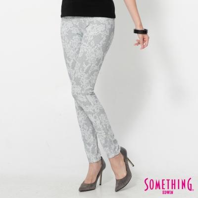 SOMETHING LADIVA幾何花卉合身牛仔褲-女-灰藍色