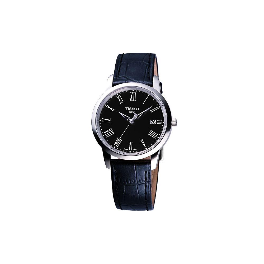 TISSOT Claccic Dream 經典皮帶腕錶-黑/38mm