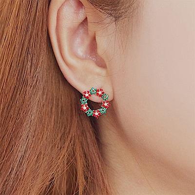 梨花HANA 無耳洞韓國聖誕花圈喜氣新年耳環夾式