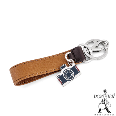 PORTER-相機吊飾真皮鑰匙圈-褐