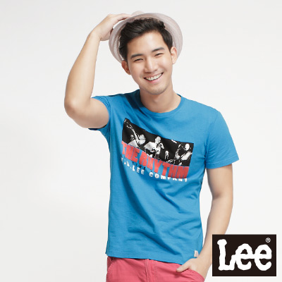 Lee-Retro-Modernist-植絨圖案印花短袖T恤-男款-藍